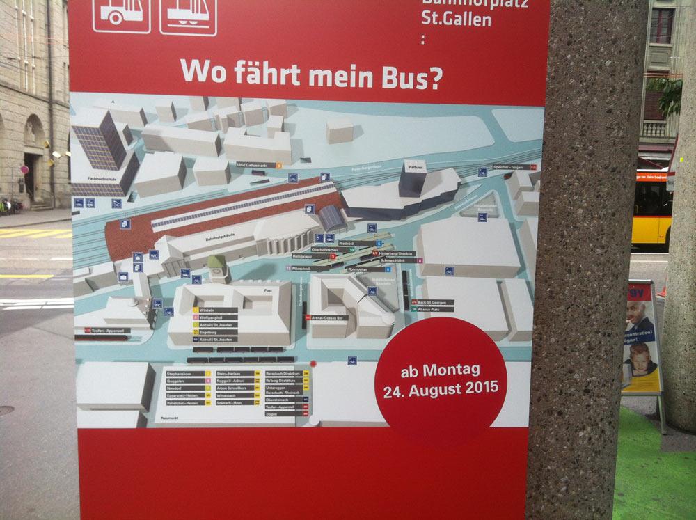 Die neuen VBSG / Postauto Haltestellen am Bahnhof St.Gallen